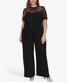 Women's Plus Short Sleeve Jumpsuit with Sheer Yoke