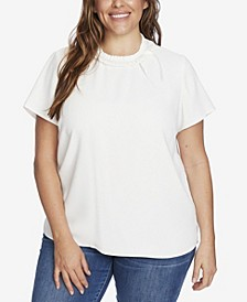 Women's Plus Short Sleeve Blouse with Pleated Neckline