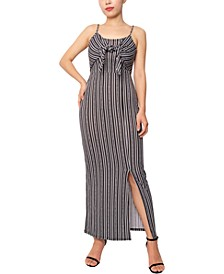 Juniors' Tie-Front Smocked-Back Maxi Dress