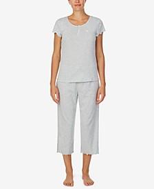 로렌 랄프로렌 파자마 세트 Lauren Ralph Lauren Printed T-Shirt & Capri Pajama Set,Heather Stripe