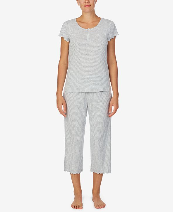 Lauren Ralph Lauren Printed T-Shirt & Capri Pajama Set
