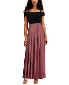 Juniors' Off-The-Shoulder Fit & Flare Gown