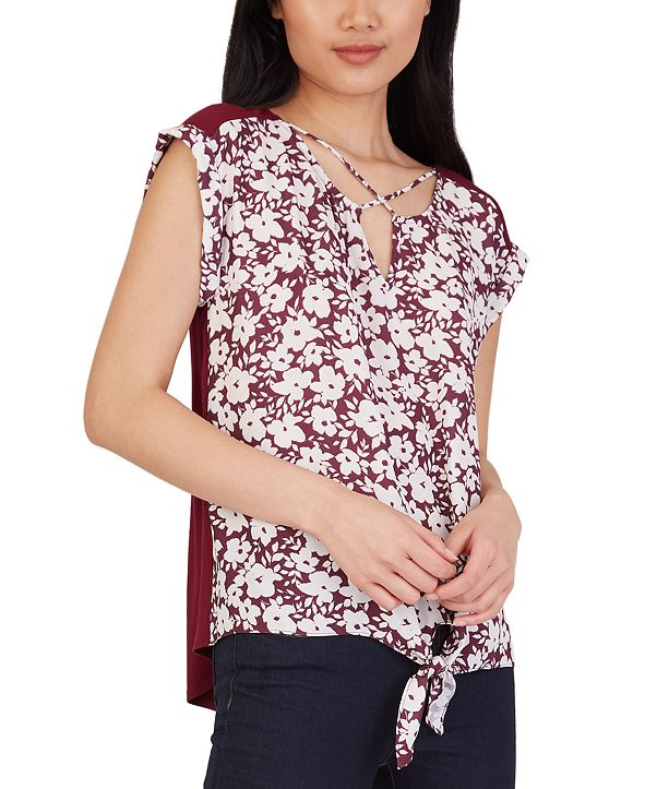 BCX Juniors' Floral-Print Criss-Cross Tie-Hem Top