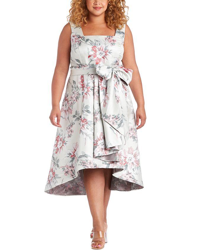 R & M Richards - Plus Size High-Low Jacquard Dress
