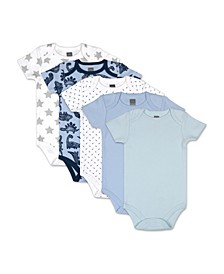 Baby Boys Dinos and Dots 5 Pack Short Sleeve Bodysuits