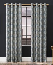 Drake Mid-Century Geometric Semi-Sheer Grommet Curtain Panel