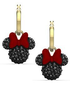 Gold-Tone Crystal Minnie Charm Convertible Hoop Earrings