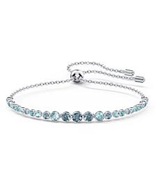 Silver-Tone Blue Crystal Gradient Slider Bracelet