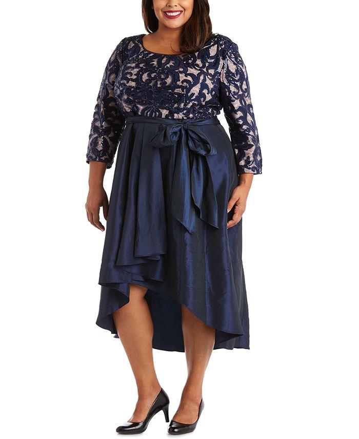 R & M Richards - Plus Size Sequin High-Low Dress