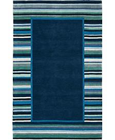 Striped Border MSR4715C Bluestone 4' x 6' Area Rug