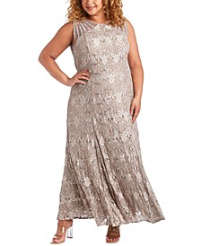 Plus Size Sequin Lace Gown
