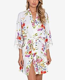 Floral-Print Wrap Robe