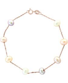 EFFY® Multicolor Cultured Freshwater Pearl (5mm) Link Bracelet in 14k Rose Gold