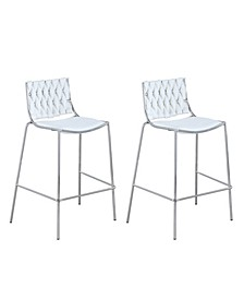 Taylor Stackable Counter Stool with Weave Back, Set of 2