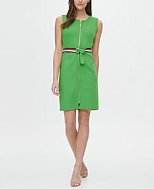 Piqué Zip-Front Belted Dress