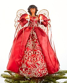 Light Up African American Red/Gold Angel Tree Topper, Created for Macy's