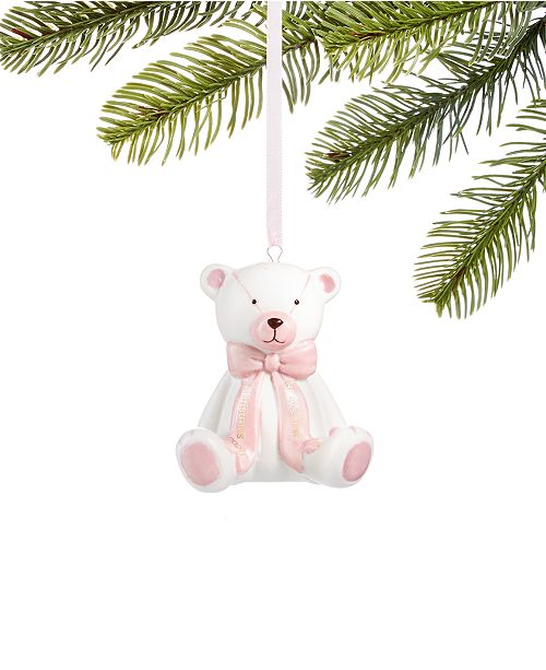 Holiday Lane Baby's First Christmas 2020, Pink Ceramic Bear