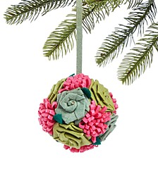Bugs & Botanical Flower Ball Ornament, Created for Macy's