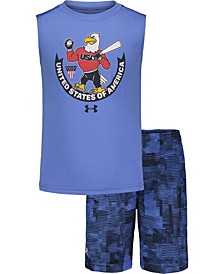 Toddler Boys 2-Pc. USA Muscle Short Set
