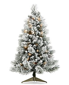 "Chalet You Stay, Pre-lit Flocked 36"" Tree with Pinecones & Ornaments, Created For Macy's"