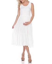 Women's Maternity Scoop Neck Tiered Midi Dress
