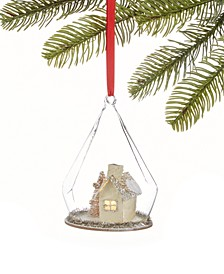 Gilded Age Glass Dome LED Ornament with Snowy House Inside, Created for Macy's