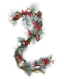 Martha Stewart  Collection Farmhouse Snowy Pine Cone and Red Berry Garland, Created for Macy's