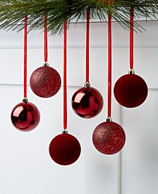 Evergreen Dreams Burgandy Shatterproof Ornaments, Set of 6, Created for Macy's