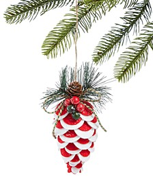 Santa's Favorites Red Pine cone Ornament, Created for Macy's