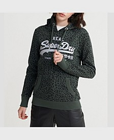 Women's Vintage-Like Logo Animal Print Hoodie