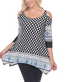 Women's Printed Cold Shoulder Tunic