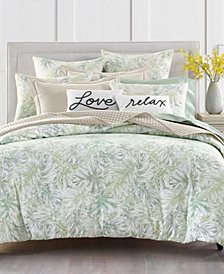 Charter Club Damask Designs Printed Leaves 300-Thread Count Queen Duvet Set, Created for Macy's