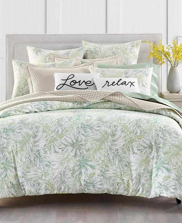 Charter Club Printed Leaves 300-Thread Count Queen Duvet Set, Created for Macy's