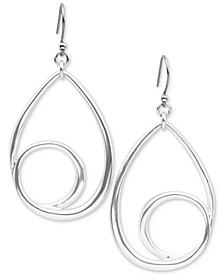 Silver-Tone Teardrop Swirl Drop Earrings