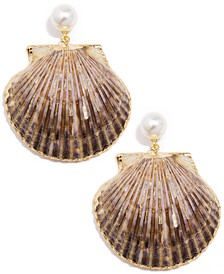 Gold-Tone Imitation Pearl & Shell Drop Earrings