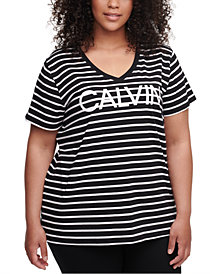 Calvin Klein Performance Plus Size Runway Striped Top