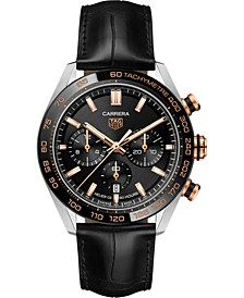 Men's Swiss Automatic Chronograph Carrera Heuer 02 Black Alligator Leather Strap Watch 44mm
