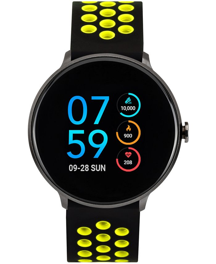 iTouch - Men's Sport Black & Yellow Silicone Strap Touchscreen Smart Watch 43.2mm