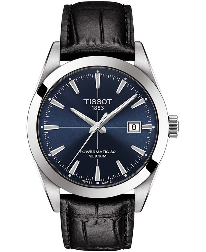 Tissot - Men's Swiss Automatic Powermatic 80 Silicium Black Leather Strap Watch 40mm