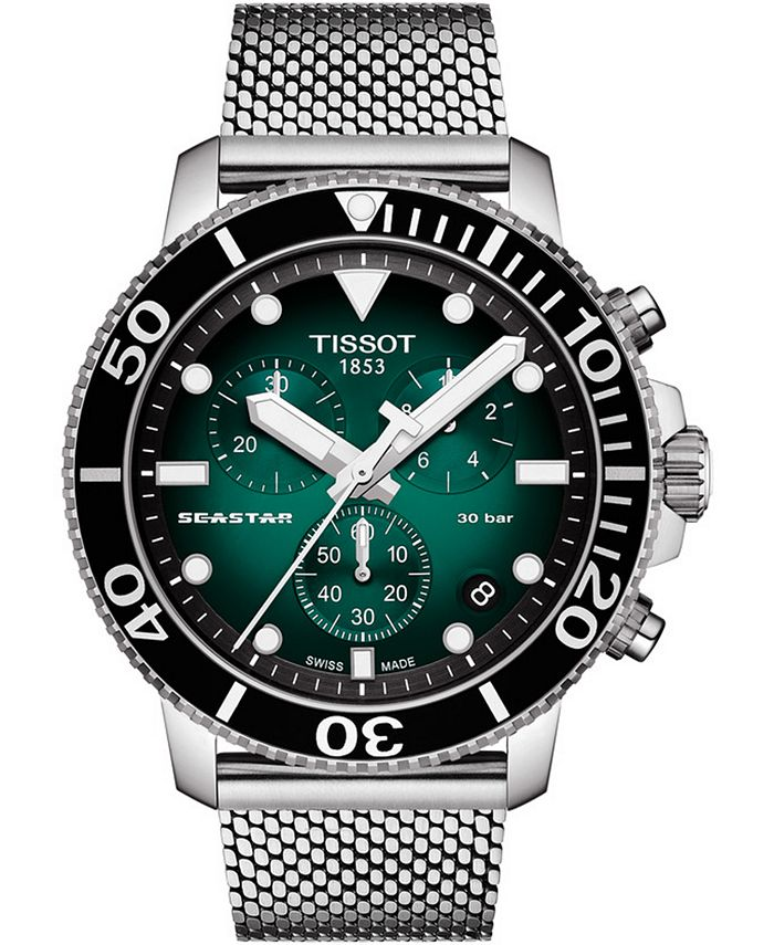 Tissot - Men's Swiss Chronograph Seastar 1000 Stainless Steel Mesh Bracelet Watch 45.5mm