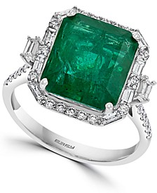 EFFY® Emerald (5-1/2 ct. t.w.) & Diamond (1/2 ct. t.w.) Statement Ring in 14k White Gold