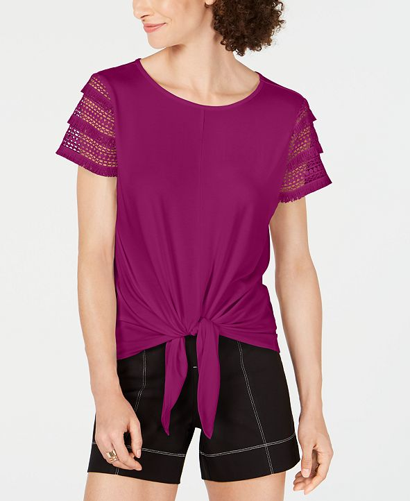 INC International Concepts INC Plus Size Lace-Sleeve Tie-Front Top, Created for Macy's