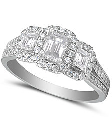 Diamond Emerald-Cut Halo Engagement Ring (1-1/2 ct. t.w.) in 14k White Gold