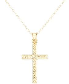 "Textured Cross 18"" Pendant Necklace"