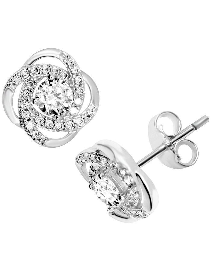 Essentials - Cubic Zirconia Love Knot Stud Earrings in Fine Silver-Plate