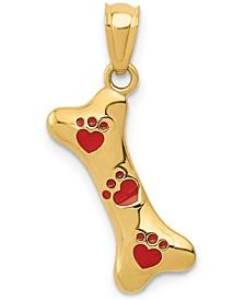 Dog Bone Enamel Charm Pendant in 14k Gold
