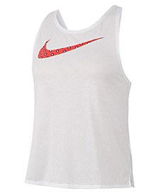 Women's Dri-FIT Printed-Logo Cross-Back Running Tank Top