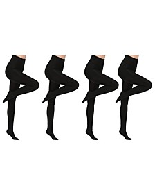 Premium Fleece Lined Tights, 4 Pack Also in Plus Size