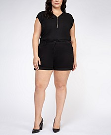 Plus Size Basic Cuffed Shorts