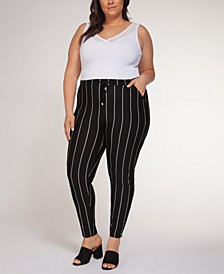 Plus Size Ribbed Pull-On Pants
